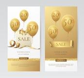 Vectir uppsättning av stilfulla vertikala baner med den pappers- shoppingpåsen, den guld- pilbågen, band och ballonger Arkivbild