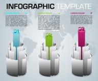 Vecto coloré moderne de calibre d'options d'infographics avec le cyli 3D illustration libre de droits