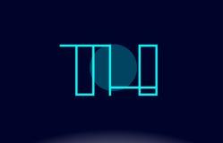 vecto del modello dell'icona di logo della lettera di alfabeto del cerchio della linea blu del Th t h Immagini Stock Libere da Diritti