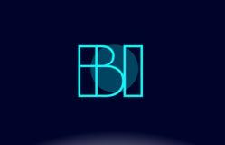 vecto del modello dell'icona di logo della lettera di alfabeto del cerchio della linea blu della Bi b i Fotografie Stock Libere da Diritti