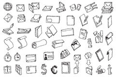 vecto för stolpe för kontor för symbol för kommunikationsdrawhand vektor illustrationer