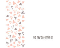 Vecto Happy Valentines Day doodle template with hand drawn black and pink hearts pattern Stock Photography
