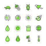 Vecto plano del planeta de la naturaleza de la ecología del web verde del lineart stock de ilustración