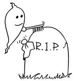 Vecto rCartoon of Ghost Cleaning up the Tombstone Grave. Cartoon vector small ghost is cleaning up the tombstone with brush and cloth Stock Photo