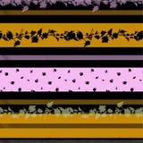 Vecto sem emenda de florescência do teste padrão das listras herizontal da flor delicada moderna e na moda ilustração do vetor