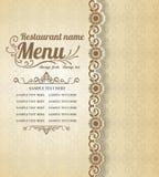 Vecto typographique de fond de conception de vintage de menu de nourriture de restaurant Image stock