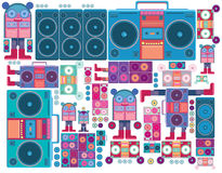 Vectoer boombox audio pattern wallpaper Stock Photos