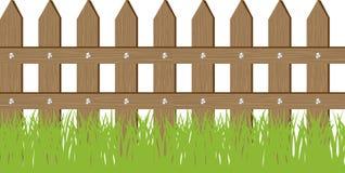 Vectoillustratie van gras en omheining Stock Afbeelding