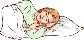 Vectorä°llustration van een Slaapvrouw stock illustratie
