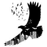 Vector a águia do voo da silhueta com efeito da exposição dobro Foto de Stock