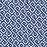 Vector étnico inconsútil del modelo del azul añil de la porcelana y de la casilla blanca stock de ilustración