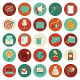 Vector ícones da finança e do negócio no estilo liso Fotografia de Stock Royalty Free