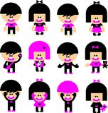 Vector ícones das crianças do emo dos desenhos animados Imagens de Stock
