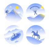 Vector ícones de tipos da montanha de turismo do verão Fotografia de Stock Royalty Free