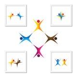 Vector ícones do logotipo do sinal dos povos junto - da unidade, parceria Fotos de Stock Royalty Free