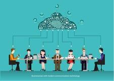Vector ícones do negócio das comunicações e das conexões das equipes do negócio Conceito do centro de funcionamento do co Reunião Fotos de Stock