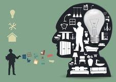 Vector ícones dos aparelhos eletrodomésticos em um silhou principal masculino Imagens de Stock