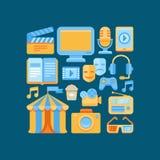 Vector ícones dos meios e do entretenimento no estilo liso Foto de Stock Royalty Free