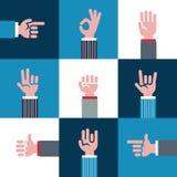 Vector ícones e símbolos, emoji, gestos de mãos diferentes, sinais dos sinais ilustração do vetor
