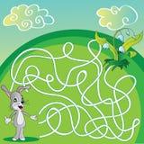 Vector лабиринт, игра лабиринта для детей с зайцами Стоковое Изображение RF