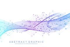 Vector абстрактная предпосылка с покрашенные динамические волны, линия и частицы Подача волны След частоты цифров иллюстрация вектора