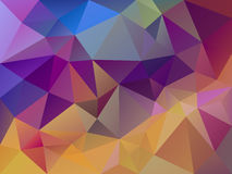 Vector абстрактная скачками картина треугольника предпосылки полигона в multi цвете - желтом, розовом, пурпуре и сини иллюстрация штока