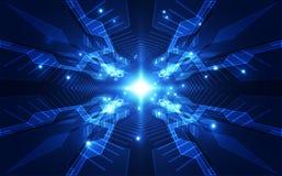 Vector абстрактная футуристическая монтажная плата, цвет сини цифровой технологии иллюстрации высокий Стоковое фото RF