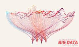 Vector абстрактные красочные большие данные по данных сортируя визуализирование Социальная сеть, финансовый анализ комплекса Стоковое Изображение RF