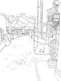 Vector ландшафт monochrome городка города эскиза городской старой улицы St Andrew s в Киеве Украине Стоковые Фото