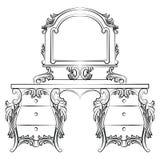 Vector барочная рамка таблицы и зеркала шлихты мебели Стоковые Изображения