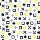 Vector безшовная абстрактная картина с крестами, положительными величинами, квадратами и кругами Серые и желтые формы на белой пр Стоковые Фото