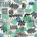 Vector безшовная зеленая и голубая абстрактная органическая и геометрическая картина формы представляя воду элемента иллюстрация штока