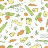 Vector безшовная иллюстрация эскиза картины натуральных продучтов комплекта органических, расположенная в форме рамок, ярлыки или Стоковая Фотография RF