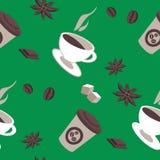 Vector безшовная картина деталей кофе, кофейных чашек Стоковые Изображения