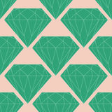 Vector безшовная картина диаманта или кристалла в зеленых и розовых цветах Стоковые Изображения RF