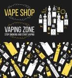 Vector безшовная картина и значки установленные для магазина vape Стоковые Фото