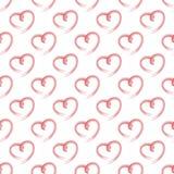 Vector безшовная картина красных сердец на белой предпосылке Стоковые Изображения RF