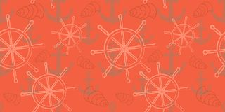 Vector безшовная картина моря с колесом ` s корабля, анкером Печать шаржа Стоковые Изображения