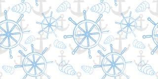 Vector безшовная картина моря с колесом ` s корабля, анкером Печать шаржа Стоковое Изображение