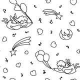 Vector безшовная картина от ангелов летания шаржа, сердец Стоковое Изображение RF