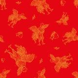 Vector безшовная картина петуха, символ 2017 на китайском календаре Элемент для дизайна Нового Года Стоковая Фотография RF