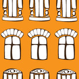 Vector безшовные окна год сбора винограда померанцовые Стоковая Фотография