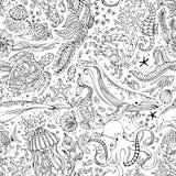 Vector безшовная картина подводных диких животных и заводов Стоковое Изображение