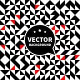 Vector безшовная картина предпосылки, белый черный красный треугольник Стоковые Изображения