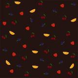 Vector безшовная картина с апельсином, голубикой, клубникой и вишней Стоковое Фото