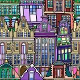 Vector безшовная картина с голландскими выдуманными винтажными домами стоковые изображения