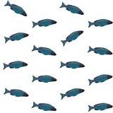 Vector безшовная картина с голубыми рыбами на белой предпосылке Стоковая Фотография RF