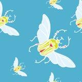 Vector безшовная картина с жуками цвета на белой предпосылке Стоковая Фотография RF