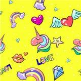 Vector безшовная картина с заплатами влюбленности моды милыми Стоковые Фотографии RF