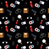 Vector безшовная картина с изображением сыщицких аксессуаров Стоковое Изображение RF
